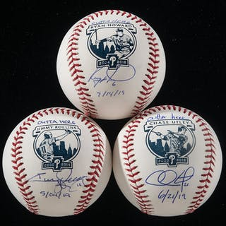 Set of (3) Philadelphia Phillies single signed Retirement...