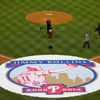 2019 Jimmy Rollins Retirement Ceremony on Field Commemorative Tarp