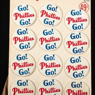 Philadelphia Phillies souvenir pins on store display c.1964