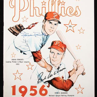 Richie Ashburn and Robin Roberts autographed 1956 Phillies yearbook