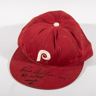 Richie Ashburn autographed c.1973 Philadelphia Phillies professional model hat