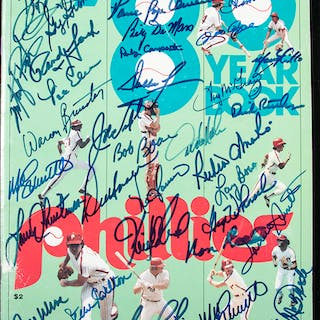 1980 Philadelphia Phillies team signed yearbook with (67) autographs