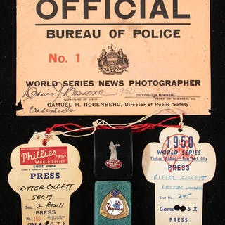 1950 World Series press pins and passes (5 total pieces)