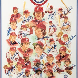 1980 Philadelphia Phillies team signed poster