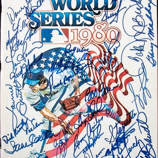 1980 Philadelphia Phillies team signed World Series program