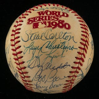 1980 Philadelphia Phillies team signed World Series logo baseball