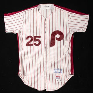 1981 Del Unser autographed Philadelphia Phillies professional model home jersey