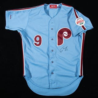1987 Von Hayes autographed Philadelphia Phillies professional model road jersey