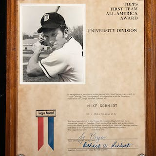 Rare 1970 Mike Schmidt Topps All-America presentational award