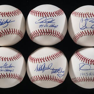 Lot of (6) 1993 Philadelphia Phillies NL Champions single signed baseballs