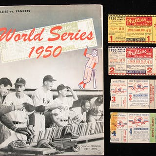 1950 World Series ticket stubs and program
