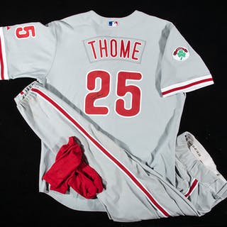 2004 Jim Thome autographed Philadelphia Phillies professional model road uniform