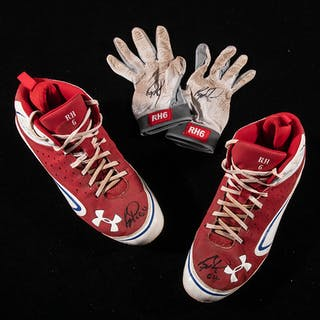 Ryan Howard autographed professional model batting gloves and cleats