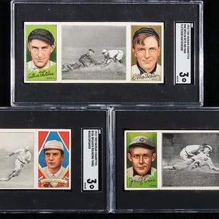 Lot of (3) 1912 T202 Hassan Triple Folders with Hall of Famers