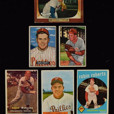Lot Of 25 Robin Roberts Baseball Cards From 1951 1966 Gd