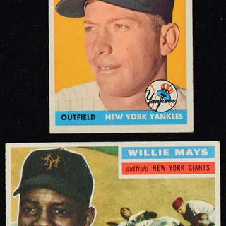 Willie Mays 1956 Topps And Mickey Mantle 1958 Topps Baseball