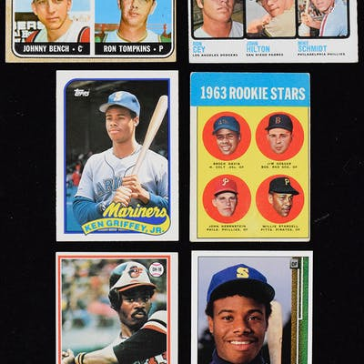 Lot of (17) Baseball stars and HOFers rookie cards from 1963-1990 (GD-NM/MT)