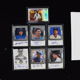 Lot of (7) baseball stars and HOFers signed insert cards (NM-NM/MT)