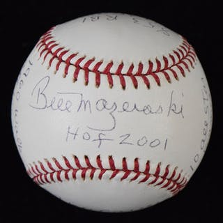 Bill Mazeroski signed and multi-inscribed limited edition stat ball (NM)