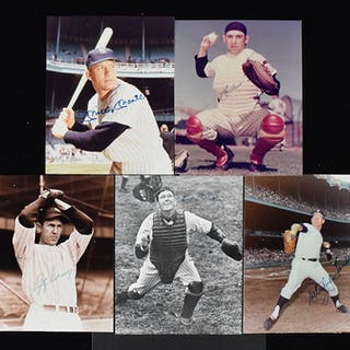 """Lot of (5) New York Yankees HOFers signed 8""""x10"""" photos..."""