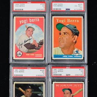 Lot of (5) graded Yogi Berra baseball cards from 1958-1961 (VG/EX+ - EX)