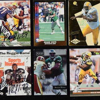 Lot of (6) different Reggie White signed football cards (EX-NM/MT)