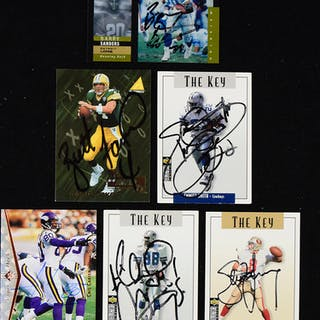 Lot of (25) signed football cards including HOFers (EX-NM)