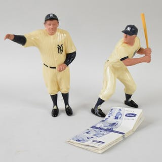 Mickey Mantle and Babe Ruth vintage Hartland statues plus pamphlet (EX-EX/MT)