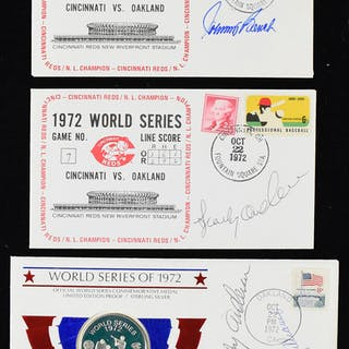 Lot of (8) 1972 World Series related postal covers - (1) w/silver coin