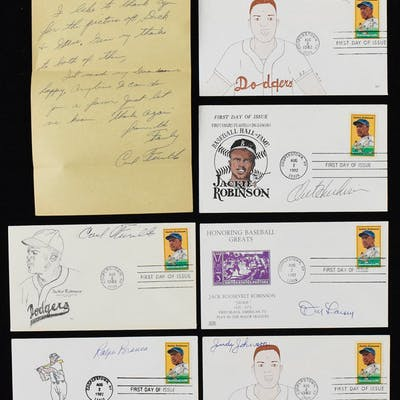 Lot of (24) player signed Jackie Robinson related postal...