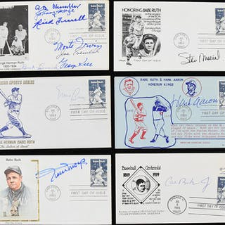 Lot of (8) Hall of Famer signed Babe Ruth related postal...