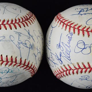 Lot of (2) 1997 Florida Marlins team signed World Series...