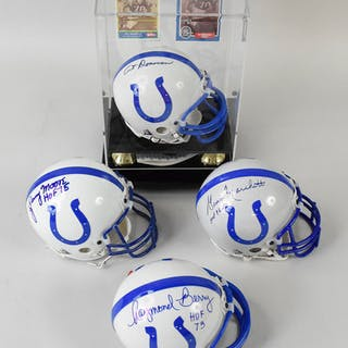 Colts Hall of Famers signed mini-helmets (4) (NM) Colts mini-helmets by Riddell