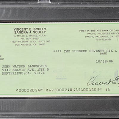 Vin Scully full name signed check (PSA/DNA) (Sig | Barnebys