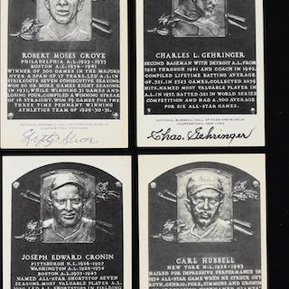 Lot of (7) signed Black and White Hall of Fame postcards...
