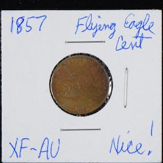 1857 Flying Eagle cent (EX/MT)