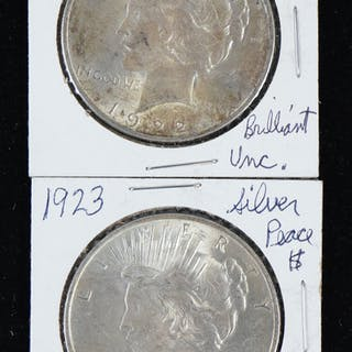 1922 and 1923 peace silver dollars (EX/MT-NM)