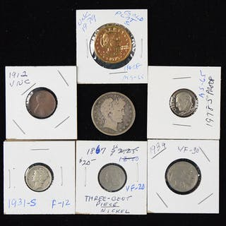 Nice lot of assorted coins and currency from 1867-2000 (PR/FR-MT)