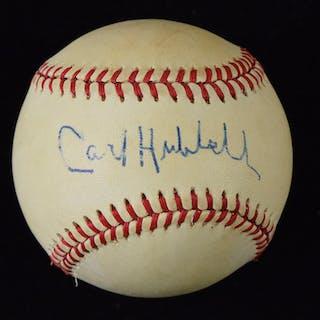 Carl Hubbell signed B.Giamatti NL baseball (EX)