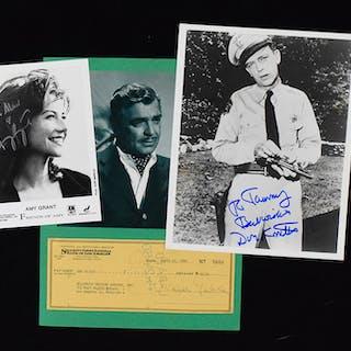 Non-sports autograph lot including Clark Gable check (VG-NM)