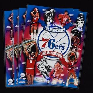 "Lot of (4) 1983 Philadelphia 76ers multi-signed 11""x14"" photographs (NM-NM/MT)"
