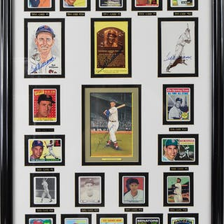 Ted Williams framed display including (4) autographs and...