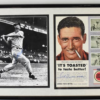 Framed display containing (2) Ted Williams autographed items (NM)