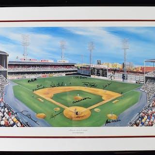 Interesting multi-signed Connie Mack Stadium print (EX/MT)