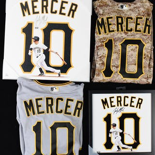Lot of (2) Jordy Mercer game worn jerseys and (2) signed...