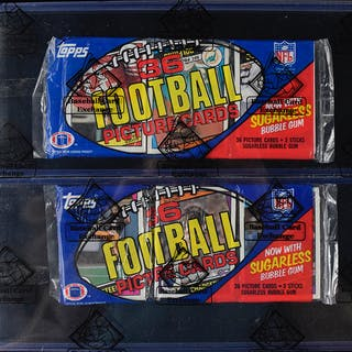 Lot of (2) 1984 Topps Football grocery rack packs - BBCE wrapped (NM-NM/MT)
