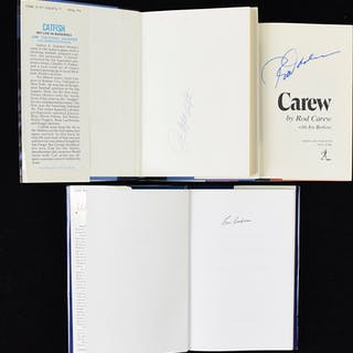 Lot of (7) Baseball HOFers signed hardcover books (EX-NM)