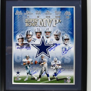 "Dallas Cowboys Super Bowl MVPs multi-signed 16""x20"" photo - PSA/DNA (NM framed)"
