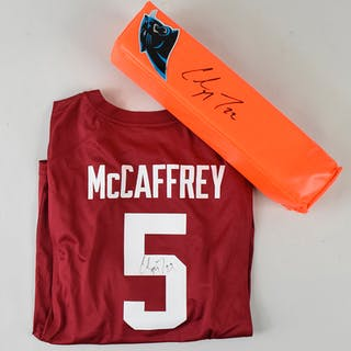 Christian McCaffrey signed Stanford jersey and signed pylon (NM-NM/MT)