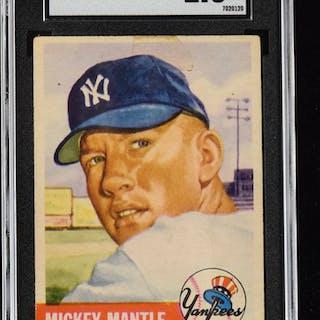 1953 Topps #82 Mickey Mantle (SGC 1.5 FR) Key card...